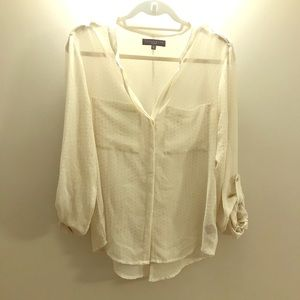 Sanctuary Dotted Button-Down with Shoulder Detail